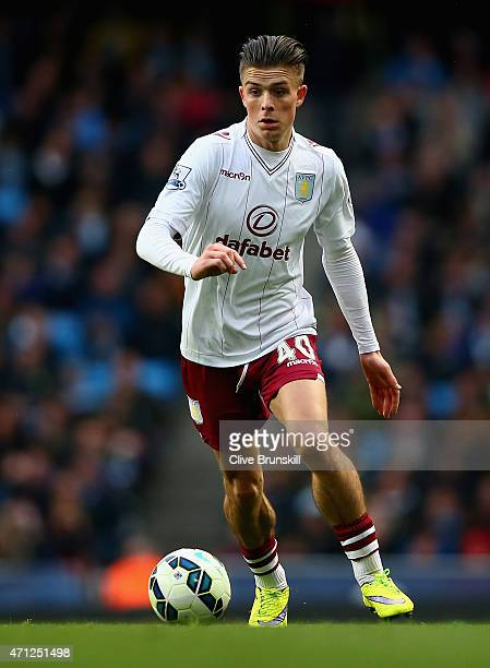 Jack Grealish of Aston Villa in action during the Barclays Premier League match between Manchester City and Aston Villa at Etihad Stadium on April 25...