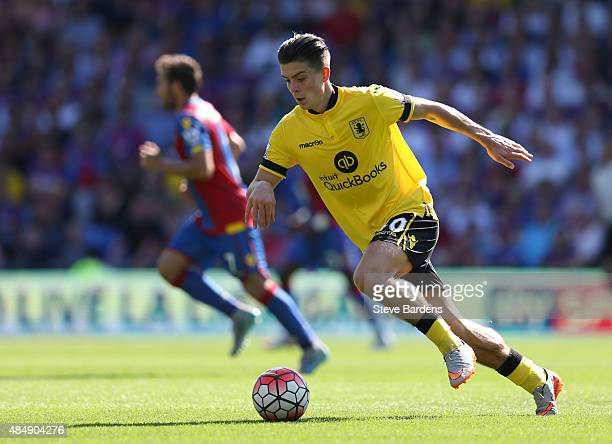 Jack Grealish of Aston Villa in action during the Barclays Premier League match between Crystal Palace and Aston Villa at Selhurst Park on August 22...