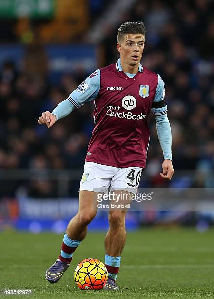 Jack Grealish of Aston Villa in action during the Barclays Premier League match between Everton and Aston Villa at Goodison Park on November 21 2015...