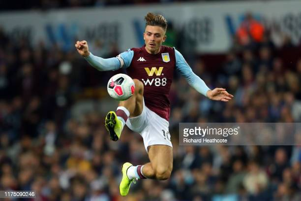Jack Grealish of Aston Villa in action during the Premier League match between Aston Villa and West Ham United at Villa Park on September 16, 2019 in...