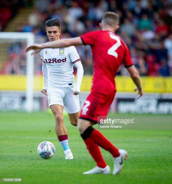 Jack Grealish of Aston Villa in action during the PreSeason Friendly match between Walsall and Aston Villa at the Bescot Stadium on July 17 2018 in...