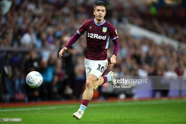 Jack Grealish of Aston Villa in action during the Sky Bet Championship match between Aston Villa and Brentford at Villa Park on August 22 2018 in...