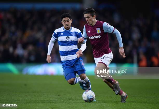 Jack Grealish of Aston Villa in action during the Sky Bet Championship match between Aston Villa and Queens Park Rangers at Villa Park on March 13...