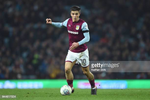 Jack Grealish of Aston Villa in action during the Sky Bet Championship match between Aston Villa and Cardiff City at Villa Park on April 10 2018 in...
