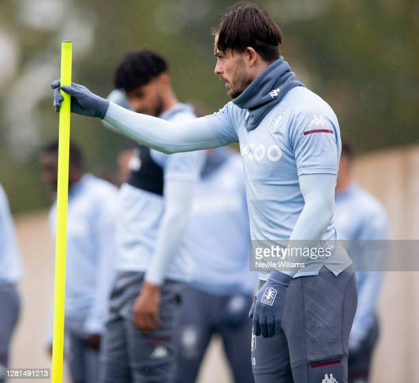 Jack Grealish of Aston Villa in action during training session at Bodymoor Heath training ground on October 21 2020 in Birmingham England