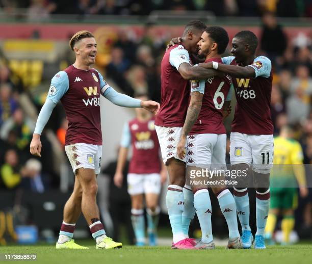Jack Grealish of Aston Villa joins in the goal celebrations after Douglas Luiz of Aston Villa had scored the fifth goal during the Premier League...