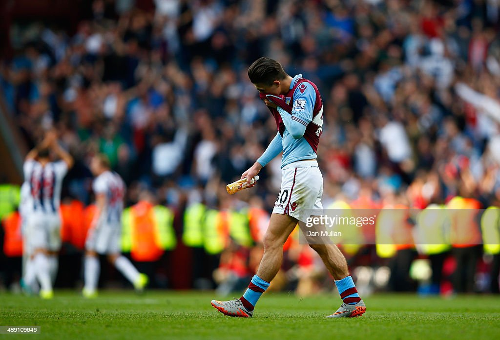Jack Grealish of Aston Villa leaves the pitch after his team's 0-1 defeat in the Barclays Premier League match between Aston Villa and West Bromwich Albion at Villa Park on September 19, 2015 in Birmingham, United Kingdom.