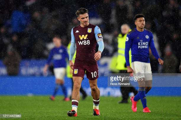 Jack Grealish of Aston Villa looks dejected after defeat in the Premier League match between Leicester City and Aston Villa at The King Power Stadium...