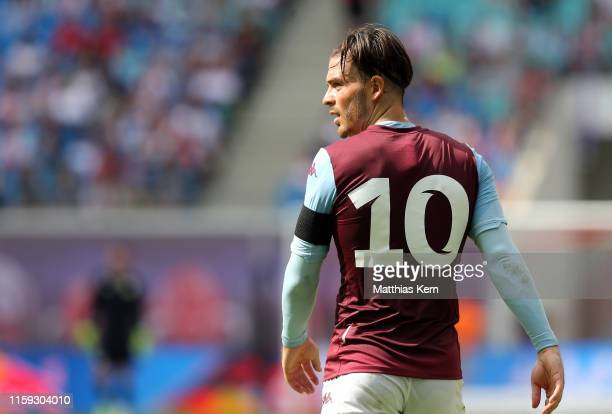 Jack Grealish of Aston Villa looks on during the pre-season friendly match between RB Leipzig and Aston Villa at Red Bull Arena on August 3, 2019 in...