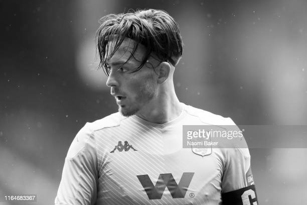 Jack Grealish of Aston Villa looks on during the Pre-Season Friendly match between Charlton and Aston Villa at The Valley on July 27, 2019 in London,...