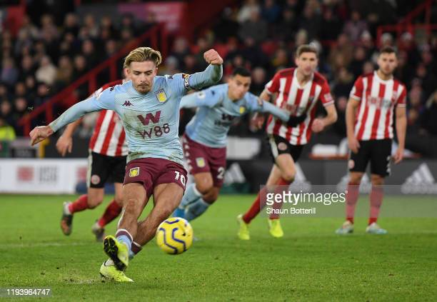 Jack Grealish of Aston Villa misses from the penalty spot during the Premier League match between Sheffield United and Aston Villa at Bramall Lane on...