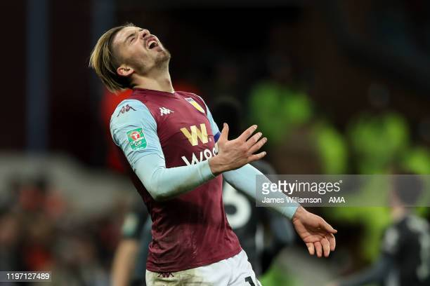 Jack Grealish of Aston Villa reacts after a missed chance during the Carabao Cup Semi Final match between Aston Villa and Leicester City at Villa...
