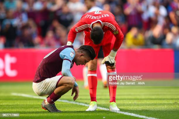 Jack Grealish of Aston Villa reacts after missing a chance on goal during the Sky Bet Championship Play Off Final between Aston Villa and Fulham at...