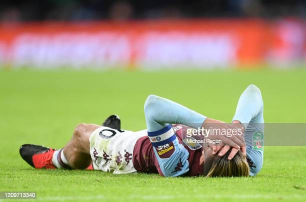 Jack Grealish of Aston Villa reacts during the Carabao Cup Final between Aston Villa and Manchester City at Wembley Stadium on March 01 2020 in...