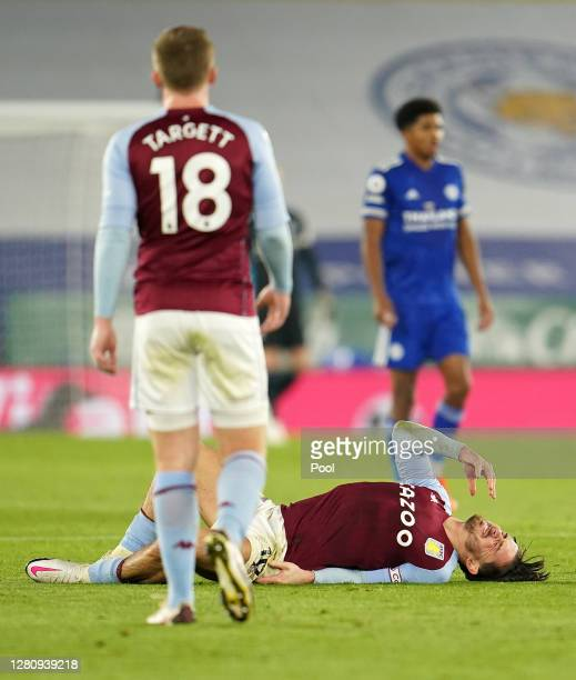 Jack Grealish of Aston Villa reacts during the Premier League match between Leicester City and Aston Villa at The King Power Stadium on October 18...