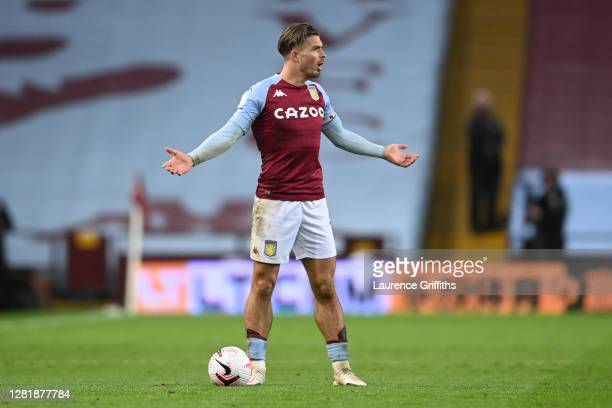 Jack Grealish of Aston Villa reacts during the Premier League match between Aston Villa and Leeds United at Villa Park on October 23 2020 in...