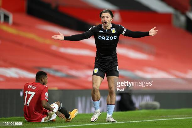 Jack Grealish of Aston Villa reacts during the Premier League match between Manchester United and Aston Villa at Old Trafford on January 01, 2021 in...