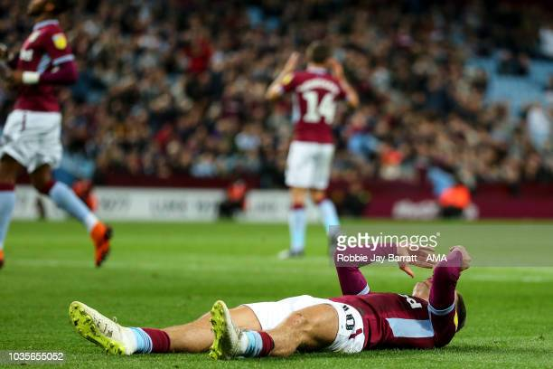 Jack Grealish of Aston Villa reacts during the Sky Bet Championship match at Villa Park on September 18 2018 in Birmingham England