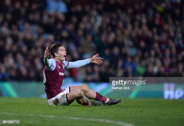 Jack Grealish of Aston Villa reacts during the Sky Bet Championship match between Aston Villa and Queens Park Rangers at Villa Park on March 13 2018...