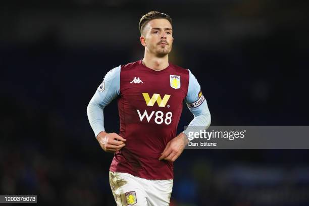 Jack Grealish of Aston Villa runs during the Premier League match between Brighton Hove Albion and Aston Villa at American Express Community Stadium...