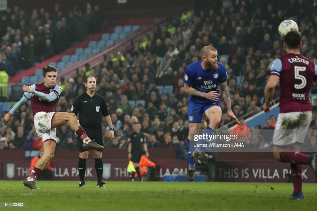 Jack Grealish of Aston Villa scores a goal to make it 1-0 during the Premier League match between Leicester City and Newcastle United at The King Power Stadium on April 7, 2018 in Leicester, England.