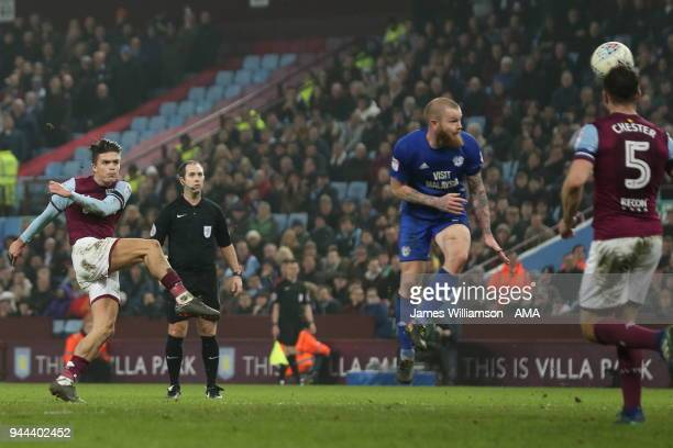 Jack Grealish of Aston Villa scores a goal to make it 10 during the Premier League match between Leicester City and Newcastle United at The King...