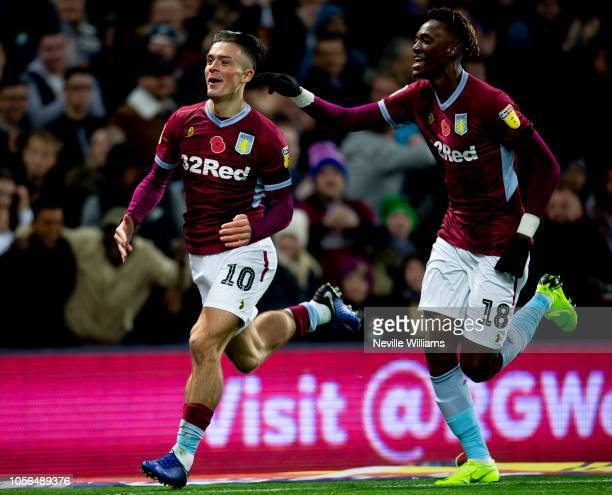 Jack Grealish of Aston Villa scores during the Sky Bet Championship match between Aston Villa and Bolton Wanderers at Villa Park on November 02 2018...