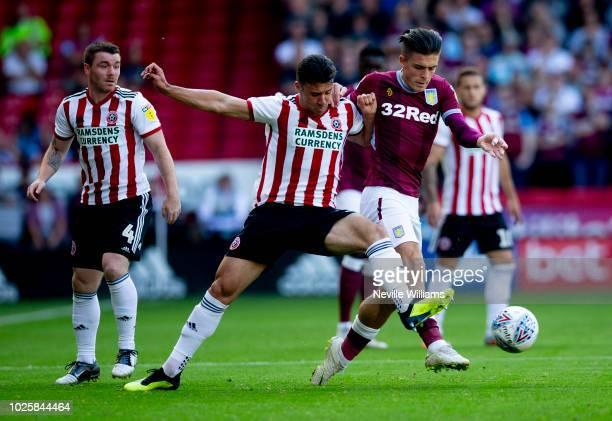 Jack Grealish of Aston Villa scores for Aston Villa during the Sky Bet Championship match between Sheffield United and Aston Villa at Bramall Lane on...