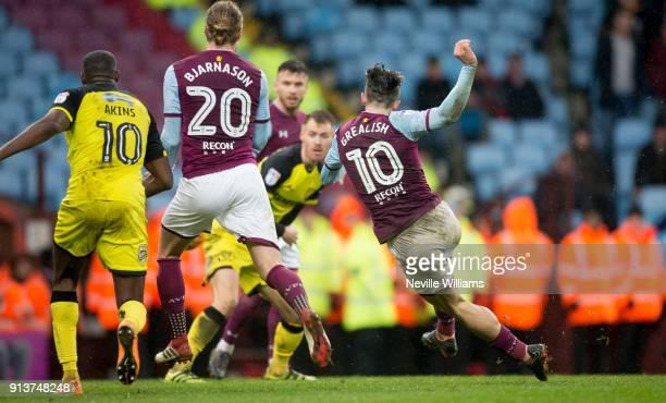 Jack Grealish of Aston Villa scores for Aston Villa during the Sky Bet Championship match between Aston Villa and Burton Albion at Villa Park on...