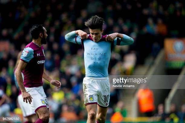 Jack Grealish of Aston Villa scores for Aston Villa during the Sky Bet Championship match between Norwich City and Aston Villa at Carrow Road on...