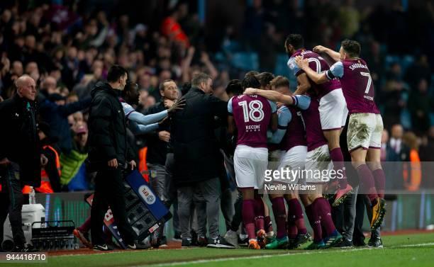 Jack Grealish of Aston Villa scores for Aston Villa during the Sky Bet Championship match between Aston Villa and Cardiff City at Villa Park on April...