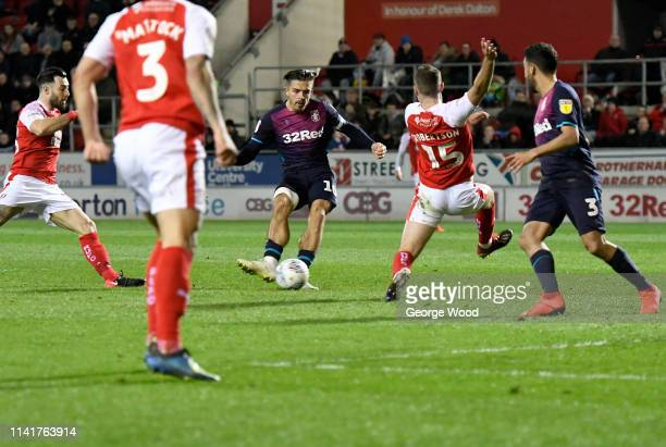 Jack Grealish of Aston Villa scores his sides second goal during the Sky Bet Championship match between Rotherham United and Aston Villa at The New...