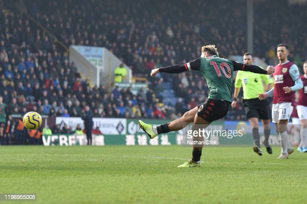 Jack Grealish of Aston Villa scores his sides second goal during the Premier League match between Burnley FC and Aston Villa at Turf Moor on January...