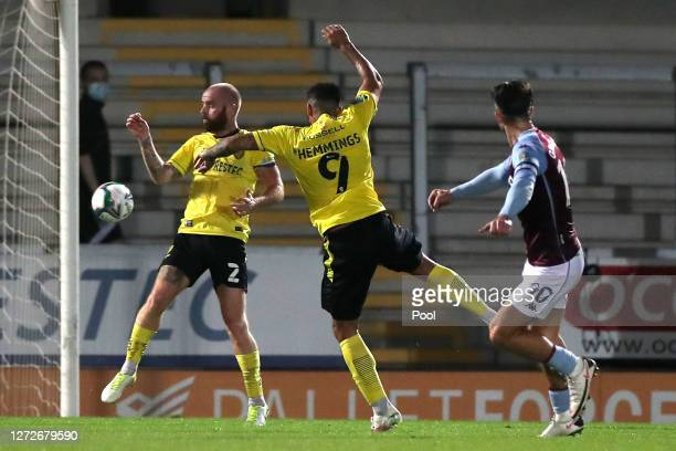 Jack Grealish of Aston Villa scores his team's second goal during the Carabao Cup Second Round match between Burton Albion and Aston Villa at Pirelli...
