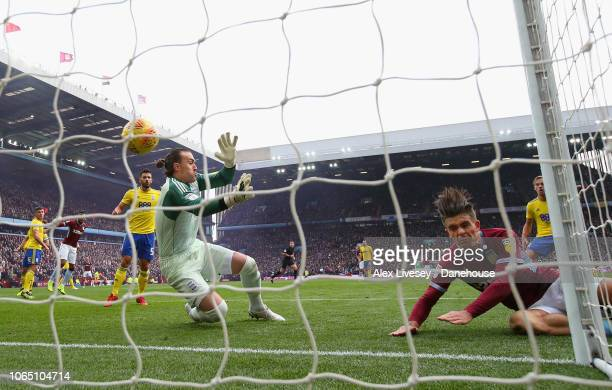 Jack Grealish of Aston Villa scores the second goal during the Sky Bet Championship match between Aston Villa and Birmingham City at Villa Park on...