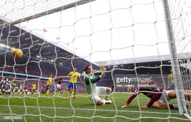 Jack Grealish of Aston Villa scores the second goal during the Sky Bet Championship match between Aston Villa and Birmingham City at Villa Park on...
