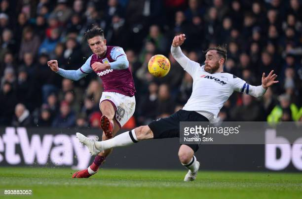 Jack Grealish of Aston Villa shoots at goal during the Sky Bet Championship match between Derby County and Aston Villa at iPro Stadium on December 16...
