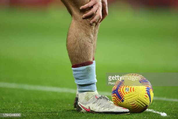 Jack Grealish of Aston Villa stands over a free kick during the Premier League match between Manchester United and Aston Villa at Old Trafford on...