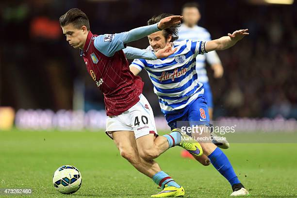 Jack Grealish of Aston Villa tangles with Joey Barton of QPR during the Barclays Premier League match between Aston Villa and Queens Park Rangers at...