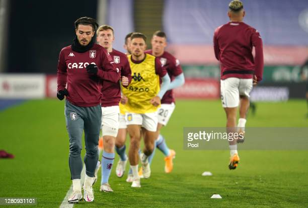 Jack Grealish of Aston Villa warms up prior to the Premier League match between Leicester City and Aston Villa at The King Power Stadium on October...
