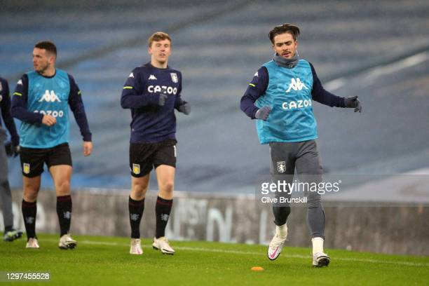 Jack Grealish of Aston Villa warms up prior to the Premier League match between Manchester City and Aston Villa at Etihad Stadium on January 20, 2021...
