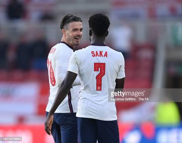 Jack Grealish of England Bukayo Saka on scoring the winning goal during the international friendly match between England and Austria at Riverside...