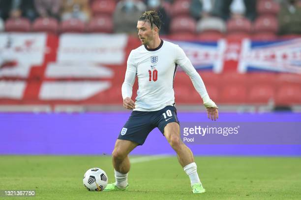 Jack Grealish of England controls the ball during the international friendly match between England and Austria at Riverside Stadium on June 02, 2021...