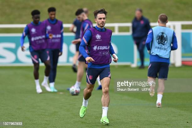 Jack Grealish of England in action during the England Training Session at St George's Park on July 10, 2021 in Burton upon Trent, England.