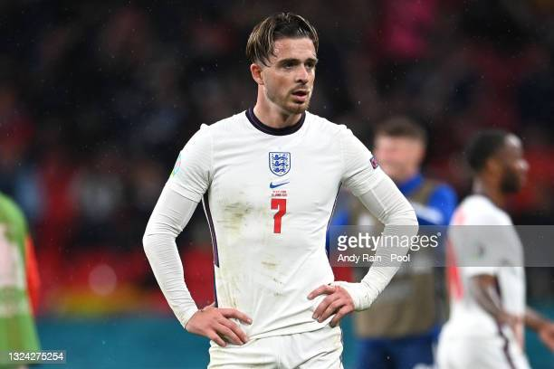 Jack Grealish of England looks dejected following the UEFA Euro 2020 Championship Group D match between England and Scotland at Wembley Stadium on...