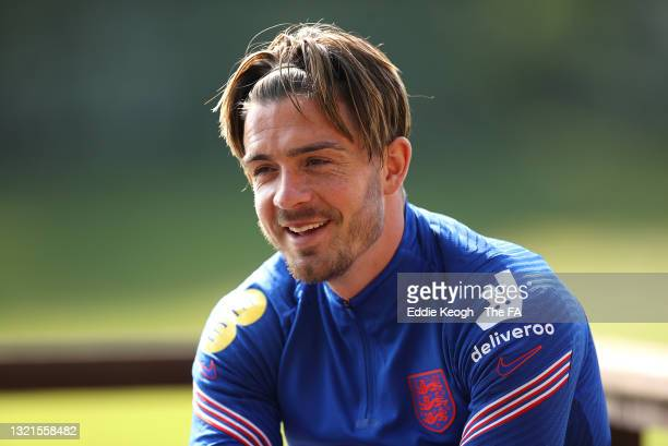 Jack Grealish of England looks on during a interview on June 03, 2021 in Middlesbrough, England.