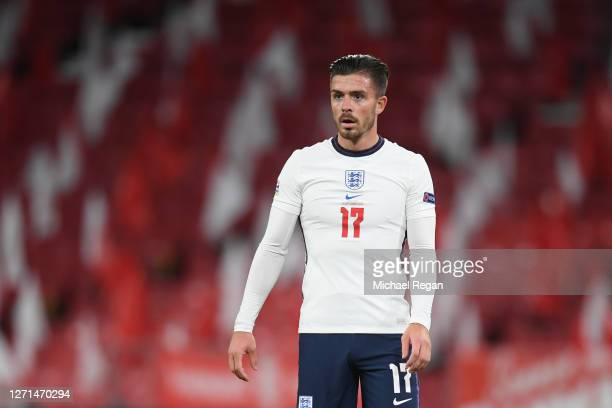 Jack Grealish of England looks on during the UEFA Nations League group stage match between Denmark and England at Parken Stadium on September 08,...