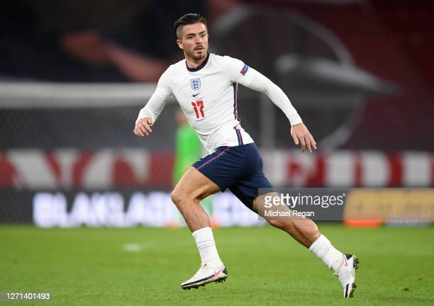 Jack Grealish of England looks on whilst running during the UEFA Nations League group stage match between Denmark and England at Parken Stadium on...