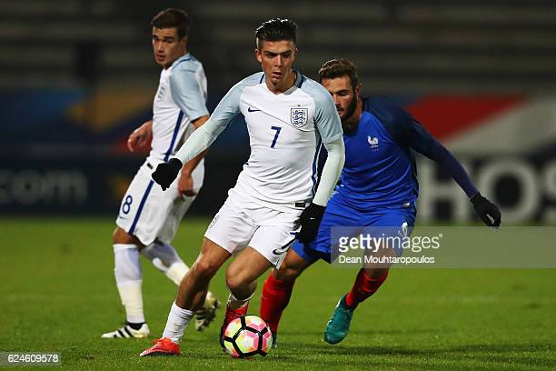 Jack Grealish of England U21 battles for the ball with Lucas Tousart of France U21 during the U21 International Friendly match France U21 and England...