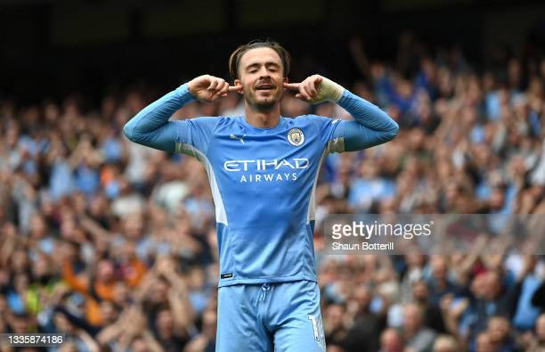 Jack Grealish of Manchester City celebrates after scoring during the Premier League match between Manchester City and Norwich City at Etihad Stadium...